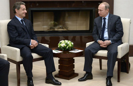 Экс-президент Франции Николя Саркози и президент России Владимир Путин.