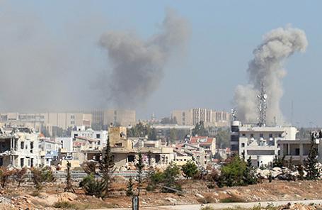 Дым над Алеппо, Сирия.
