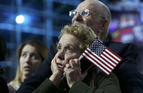 Сторонники Хиллари Клинтон следят за подсчетом голосов, Нью-Йорк.