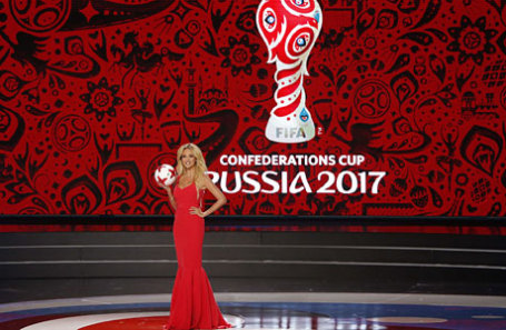 Во время жеребьевки Кубка Конфедераций по футболу в Казани.