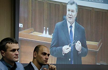 Видеоконференция экс-президента Украины В.Януковича со Святошинским судом Киева, 28 ноября 2016.