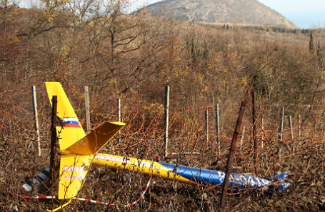 Место крушения вертолета Robinson в Крыму.