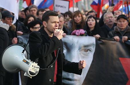 Илья Яшин во время марша памяти, посвященного годовщине гибели политика и общественного деятеля Бориса Немцова.