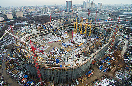 Строительная площадка Центрального футбольного стадиона «Динамо» имени Льва Яшина и спортивного комплекса «ВТБ Арена парк».