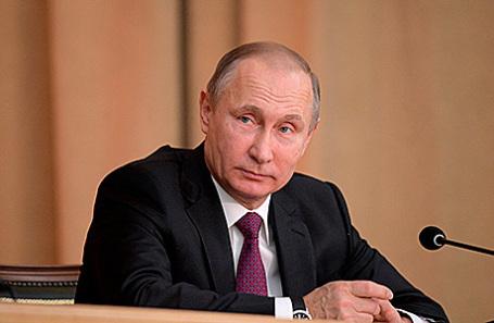 Президент России Владимир Путин на торжественном заседании, посвящённом 295-летию российской прокуратуры.