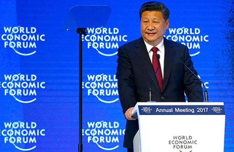 Председатель КНР Си Цзиньпин на открытии форума в Давосе.