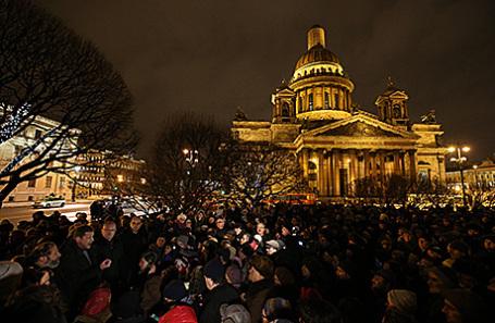 Акция протеста против передачи Исаакиевского собора Русской православной церкви в Санкт-Петербурге.