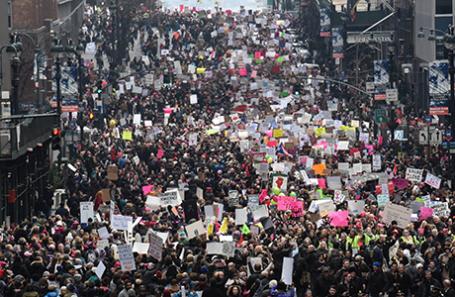 Акция протеста в связи со вступлением в должность 45-го президента США Дональда Трампа в Нью-Йорке, США.