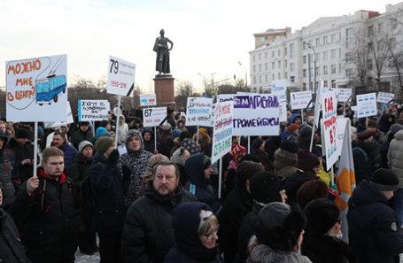 В российской столице намитинге взащиту троллейбусов задержали 5 человек