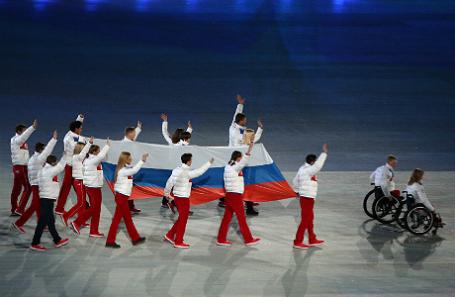 Церемония закрытия XI зимних Паралимпийских игр в Сочи.
