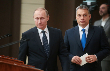 Премьер-министр Венгрии Виктор Орбан и президент России Владимир Путин (слева направо).