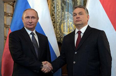 Владимир Путин и Виктор Орбан на встрече в Будапеште.