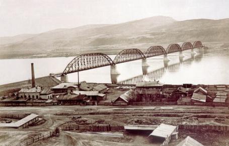 Железнодорожный мост через Енисей, 1914.