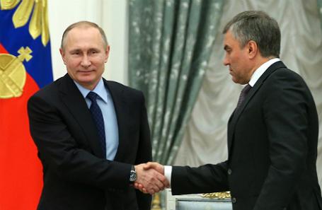 Президент РФ Владимир Путин и спикер Госдумы РФ Вячеслав Володин (слева направо).