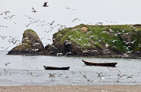 Бухта Оля на острове Итуруп Курильской гряды.
