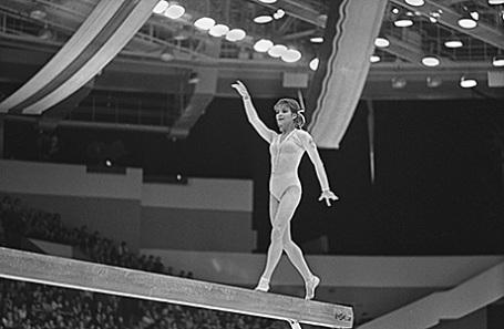 Ольга Корбут, 1975 год.
