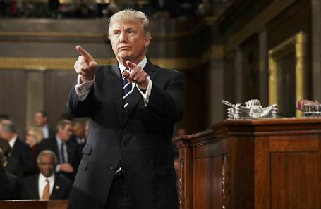 Дональд Трамп после выступления в Конгрессе США.
