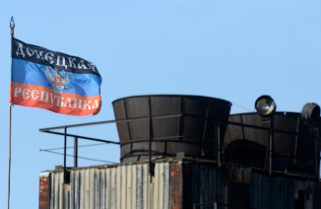 Флаг ДНР на Донецком металлургическом заводе