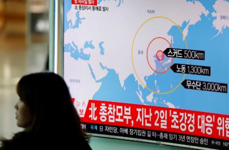 Репортаж о ракетной стрельбе со стороны Северной Кореи.