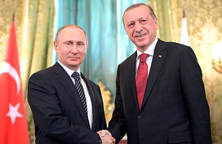 Президент России Владимир Путин и президент Турции Реджеп Тайип Эрдоган (слева направо).