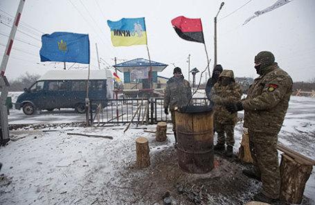Активисты железнодорожной блокады, которая прекратила поставки угля в село Щербивка.
