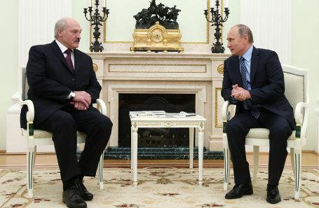Президент Белоруссии Александр Лукашенко и президент России Владимир Путин (слева направо).
