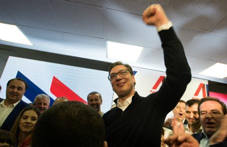 Александр Вучич после победы на выборах.