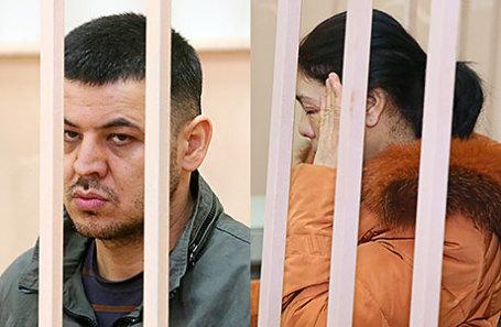 Содик Ортиков и Шохиста Каримова, подозреваемые в причастности к теракту в метрополитене Санкт-Петербурга 3 апреля, перед рассмотрением ходатайства об избрании меры пресечения в Басманном суде.