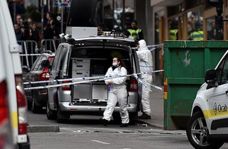 На месте теракта в Стокгольме, Швеция.