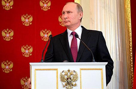 Президент РФ Владимир Путин во время пресс-конференции по итогам встречи с президентом Италии Серджо Маттареллой в Кремле.