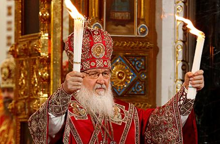 атриарх Московский и всея Руси Кирилл на праздничном пасхальном богослужении в храме Христа Спасителя.