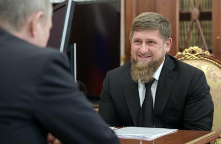 Рамзан Кадыров на встрече с Владимиром Путиным.