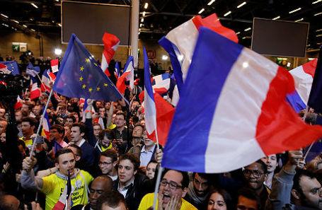 Сторонники кандидата в президенты Франции Эммануэля Макрона.