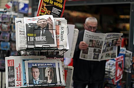 Газеты с передовицами, посвященными результатам выборов во Франции. Ницца, 24 апреля 2017.