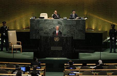 Президент Уругвая Табаре Васкес выступает на Генеральной Ассамблее ООН в Нью-Йорке.