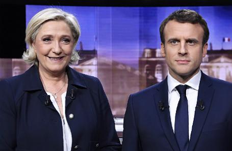 Марин Ле Пен и Эммануэль Макрон.