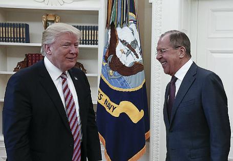 Встреча главы МИД РФ С.Лаврова с президентом США Д.Трампом в Вашингтоне.