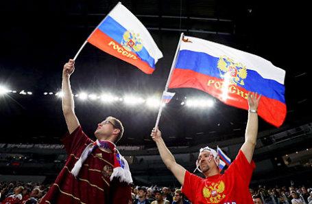 Российские болельщики на матче чемпионата мира по хоккею.