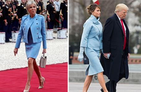 Брижит Макрон и Мелания Трамп с мужем.
