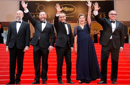 Съемочная группа фильма «Нелюбовь» на Каннском кинофестивале.