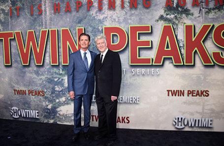 Кайл МакЛахлан (слева) и Дэвид Линч на премьере «Твин Пикс» в Лос-Анджелесе, США.