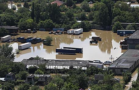 Подтопленные паводком дома и сооружения Минераловодского городского округа, Ставропольский край.