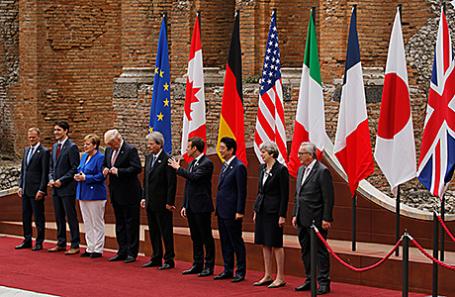 Участники саммита G7 в Таормине, Италия.