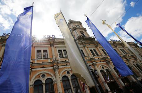 Подготовка к открытию XXI Петербургского международного экономического форума.