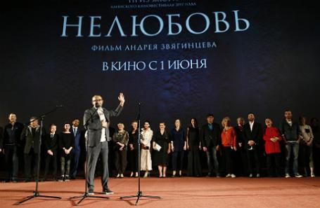 Режиссер Андрей Звягинцев (на первом плане) на премьере.