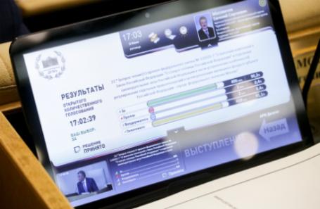 Экран с результатами голосования о принятии во втором чтении законопроекта о реновации на пленарном заседании Государственной думы РФ.