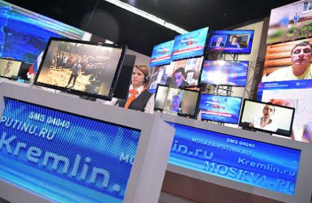 Во время ежегодной специальной программы «Прямая линия с Владимиром Путиным» в Гостином дворе.