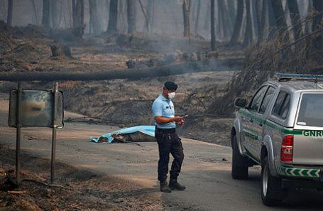 Полицейский стоит возле жертвы лесного пожара на автомагистрали IC8 под Педрогао Гранде, в центральной Португалии.