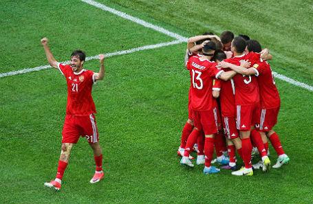 Игроки сборной России на матче против команды Новой Зеландии.