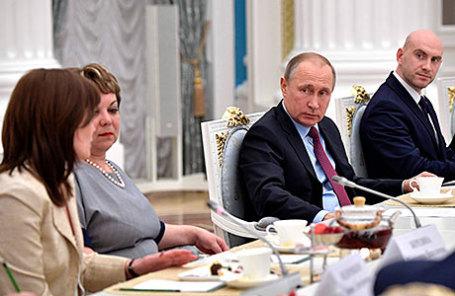 Президент России Владимир Путин на встрече с учителями – наставниками выпускных классов.